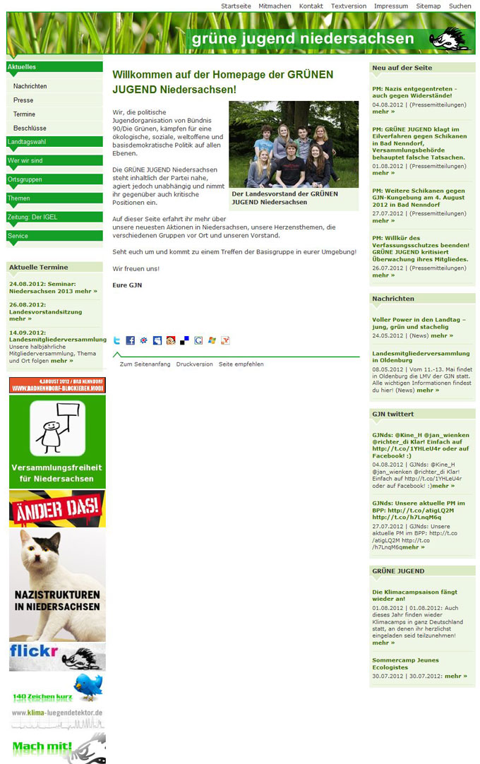 Alte Homepage der Grünen Jugend Niedersachsen