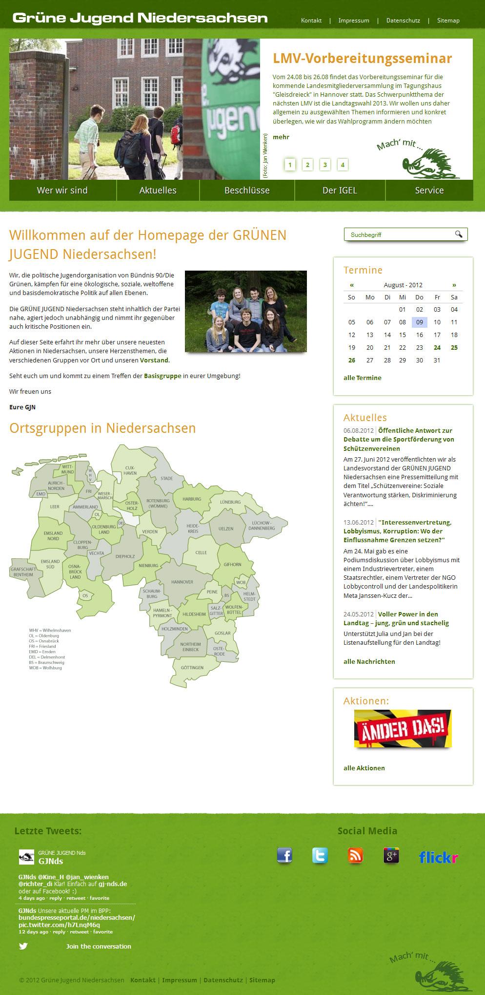 Neue Homepage der Grünen Jugend Niedersachsen